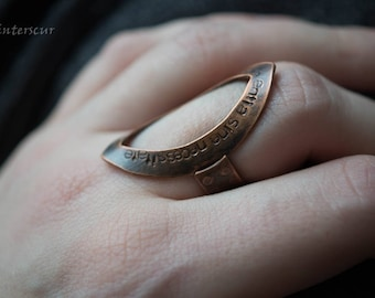 Riveted copper quote ring text in latin size 8