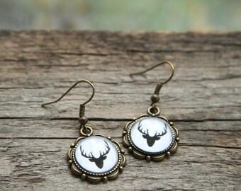Reindeer Earrings, Christmas Earrings, Christmas reindeer, Christmas sweater pattern, scandinavian pattern