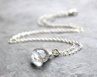 Quartz Necklace Crystal Sterling Silver faceted clear Gemstone, April Birthstone, Pendant Necklace