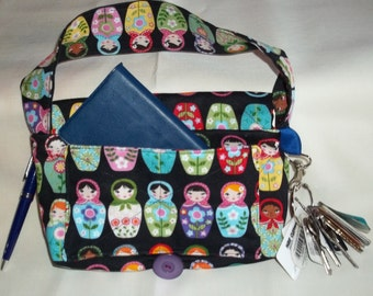 """Coupon Organizer Tote Bag Quilted Sorts Coupons w Key and Pen Holder 7' 'x 9"""" X 2"""" wide Purse  Russian Nesting Dolls fabric  Mathcing Dots"""