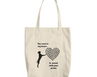 The Road to My Heart is Paved With Paw Prints Dog Design Market Book Tote Bag
