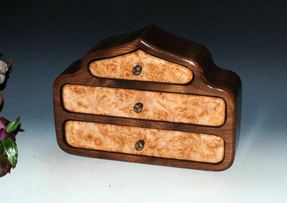 Wooden Jewelry Box - Wood Jewelry Box - Pagoda Style Maple Burl on Walnut - Jewelry Box Drawers-Wooden Box- Wood Box - Anniversary-Wood Gift