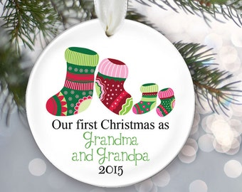 TWINS, Our first Christmas as Grandma & Grandpa, Grandparents Ornament Personalized Christmas Ornament Christmas Gift Pregnancy Reveal OR277