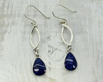 Long Blue sodalite stone drop shape, dangling earrings set on 925e sterling silver