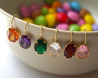 Cubic Zirconia Earrings, 14k Gold Earrings, Solid Gold Earrings, Gold Drop Earrings, Colorful Drop Earrings, Cubic Zirconia Drop Earrings