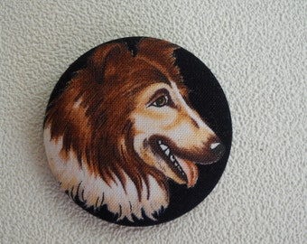 One large Collie fabric covered button size 75
