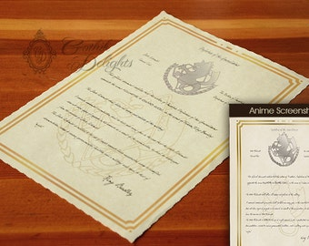 FullMetal Alchemist - State Alchemist Certificate - Customizable with name, and title!