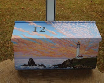 Wall Mounted, Hand Painted, California Lighthouse Mailbox - Beach Decor with house number painted on the lid