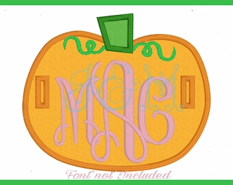 Pumpkin Button On Tab Machine Embroidery Design