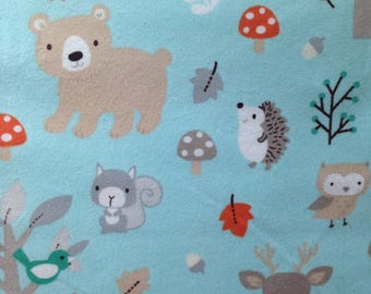 "Custom Pillow Cover Blue Orange Gray Flannel Woodland Creatures 14"" 16"" 18"""
