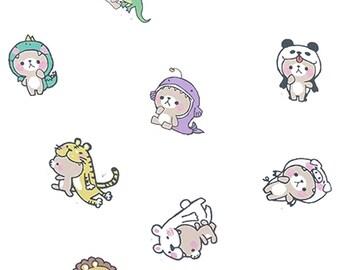 Teddy wearing hats costumes cosplay cute kawaii cartoon animal box of stickers
