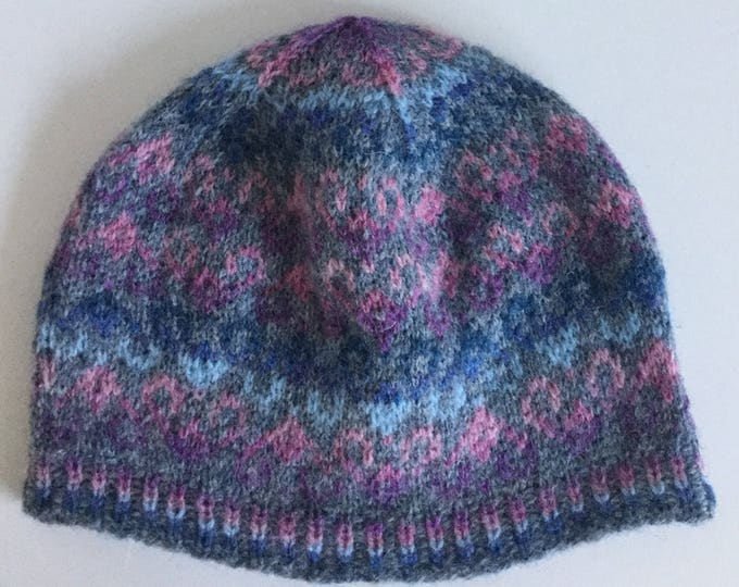 Blue and pink Fair Isle Hat