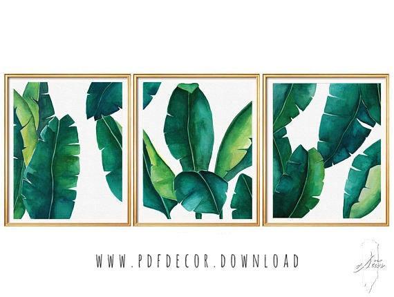 Tropical Leaves Set, Banana Leaf, Set of 3 Wall Art, Set of 3 prints tropical, Set of 3 watercolor, Watercolor Print Set, Botanical Prints