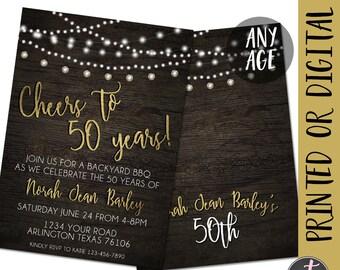 Golden anniversary invitation 50th anniversary invitation cheers to 50 years birthday invitation 50th birthday invitation backyard bbq invitation cheers stopboris Choice Image