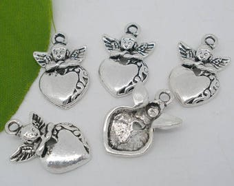 2 heart and Angel charms/pendants in antique silver