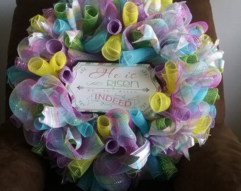 Passover Deco Mesh wreath, Christian wreath, Easter colors wreath