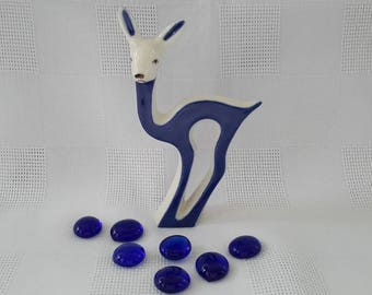 Royal Dux Bohemia Blue and White Deer Figurine