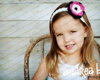 Flower Headband Cotton Crocheted  White, Hot Pink, Navy Hair Accessory Hair Clippie