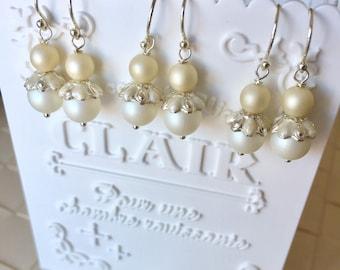 Matt Imitation Pearl Earrings, Bridal Earrings, Elegant Earrings, Dangle Earrings, Bridesmaid Earrings, Wedding Earrings, Bridesmaid Gifts