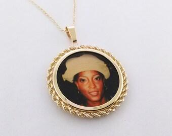 Photo Engraved Necklace,custom Photo Charm,Gold Photo Necklace,Photo Engraved Jewelry,Engraved Photo Necklaces,Mom Photo Charm
