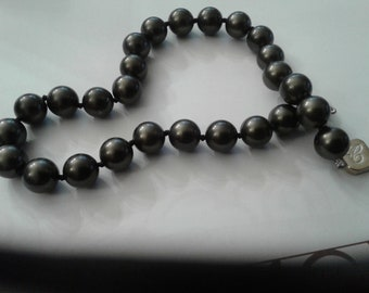 Dark Gray Knotted Faux Pearls with a Monogram Clasp