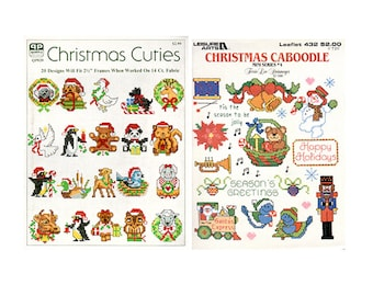 Christmas Cross Stitch Leaflets, Leisure Arts Cross Stitch Leaflelt, Christmas Caboodle, Christmas Cuties, by NewYorkTreasures on Etsy