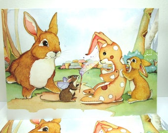 Cute  Rabbit  card, velveteen rabbit card, whimsical art, Storybook art