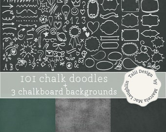 Chalkboard Doodles Clip Art 101 WHITE CHALK DOODLES+ 3 Chalkboard Digital Backgrounds- Back to School Clipart Blackboard Paper frames arrows