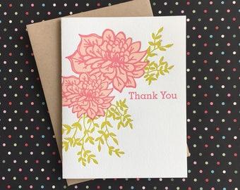 Thank You Pink Dahlia Letterpress Card