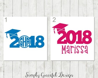 Graduation Decal, Class of 2018, Monogram Decal, Laptop Decal