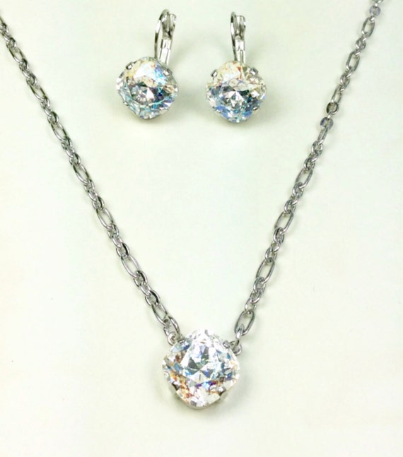 Swarovski Crystal 12MM Necklace - One Stone Cushion Cut Pendant - White Patina - Designer Inspired -  Sparkle & Shimmer - FREE SHIPPING