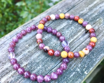 Purple Gemstone Stacking Bracelets - Mookaite Jasper Bracelet Pair - Lepidolite & Amethyst - Bohemian Jewelry - Conscious Jewellery