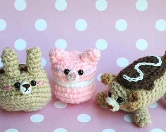 Crochet Pattern Sweet Pets Eclair Dog, Macaron Cat & Cinnamon Bunny Crochet Pattern Amigurumi Food