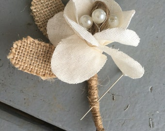 Fabric Flower and Burlap Boutonniere