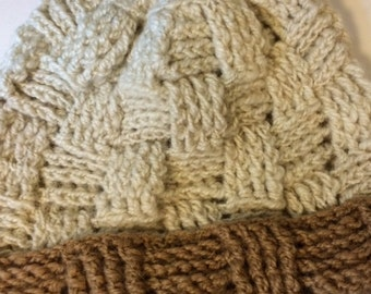 Alpaca Hat - White with Carmel Colored Brim