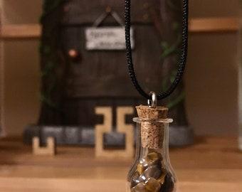 Little Jar of Tiger Eye-  Necklace