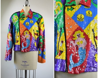 Vintage Sequin Motorcycle Jacket Size Large Bright and Bold Rainbow Color Nautical Scene Ocean Creatures Mermaid Octopus Crab Pearls Fish