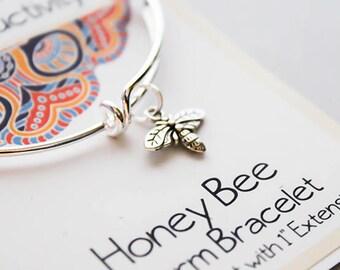 Wish Bracelet - Bee Charm Bracelet - Growth Bangle Bracelet - Friendship Gift