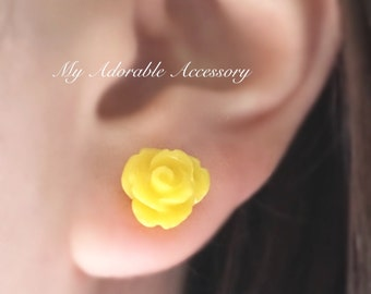 Flower Rose Earrings, Flower Stud Earrings, Flower Earrings