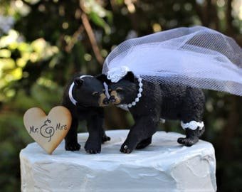 Black Bear Wedding Cake Topper, Animal Cake Topper-Bear-Wildlife-Forest-Rustic-Woodland-Destination-Unique