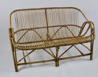 Vintage Franco Albini Style Wicker/Rattan Bench Chair