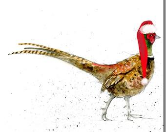 Pheasant Christmas Card - Blank inside, woodland, watercolour, holiday cadr, Pheasant