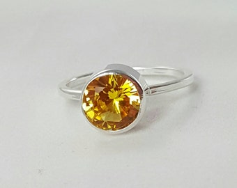 Yellow Sapphire Sterling Silver Ring- 8mm