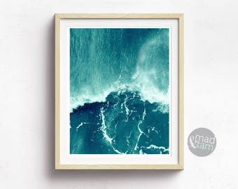 Ocean Print, Blue Ocean Wall Art, Printable Art, Beach Wall Decor, Sea Photography, Ocean Waves Wall Art, Nautical Print, Gift For Him