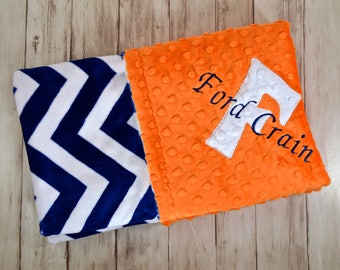 Monogrammed Chevron Minky Baby Blanket -  Navy Blue Zig Zag  and Orange Personalized - Neutral Custom blanket with name Newborn