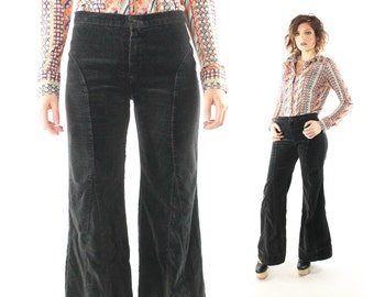 Vintage 60s 70s Bell Bottom Pants Hip Hugger Black Velvet Corduroy Flared Trousers 1960s 1970s Medium M Hippie Boho Festival Fashion