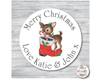 50 x PERSONALISED Deer Christmas Stickers/Labels Cards Presents Gifts Xmas Vintage Retro