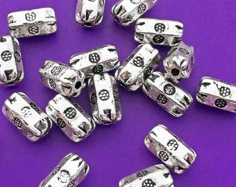 9 Hexagon Tube Beads, Antiqued Silver Tone, Bali Style, About 9mm x 5mm with a 1.25mm hole - TS111B