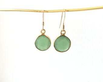 Green Quartz Drop Earrings - Gold Filled Green Set Gemstone Earrings - Boho Earrings - Bohemian Jewelry