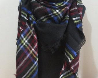 Blanket Scarves, Scarf, Poncho, Oversized Scarf, Large Scarf, Shawl, Plaid Scarf, Plaid Blanket Scarf, SC-012